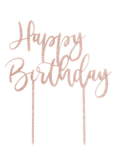 Remarkable Happy Birthday Glitter Cake Topper Rose Gold The Vanilla Valley Personalised Birthday Cards Veneteletsinfo