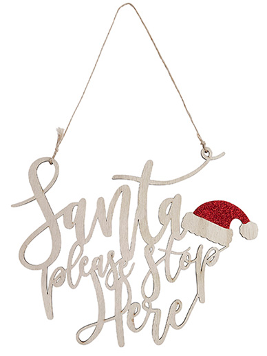 Santa Stop Here Wooden Hanging Sign
