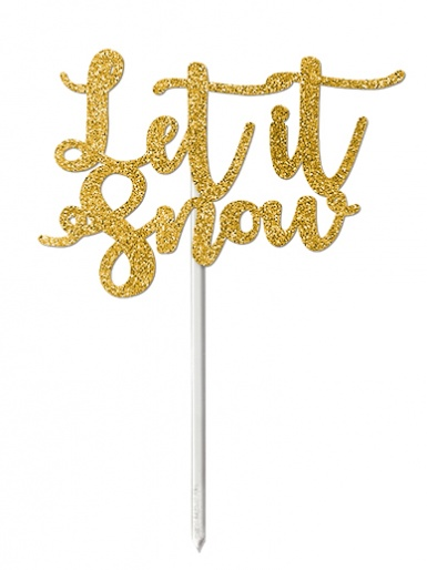 'Let it Snow' Gold Glitter Card Cake Topper