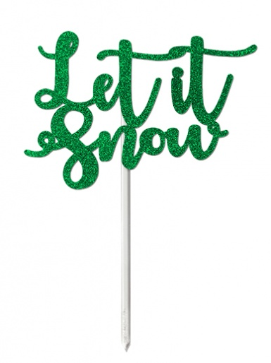 'Let it Snow' Green Glitter Card Cake Topper