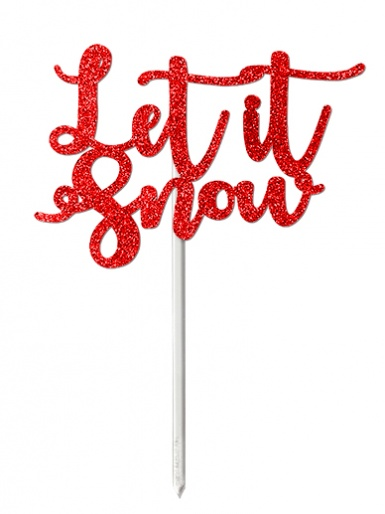 'Let it Snow' Red Glitter Card Cake Topper
