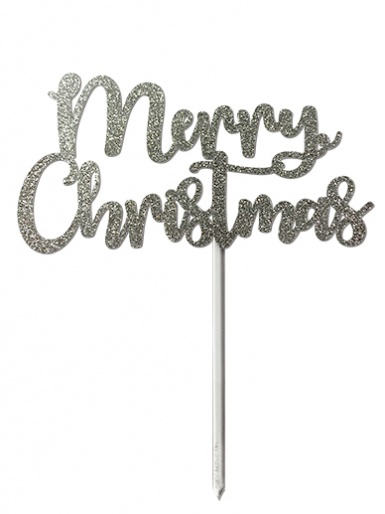 'Merry Christmas' Silver Glitter Card Cake Topper