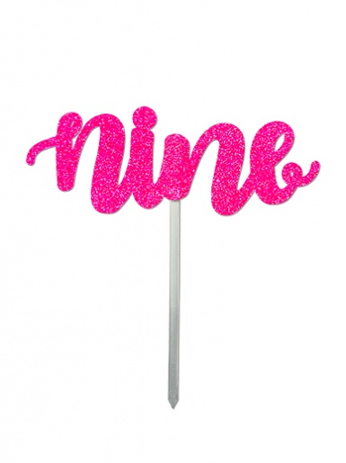 'Nine' Pink Glitter Card Cake Topper