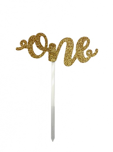 'One' Gold Glitter Card Cake Topper