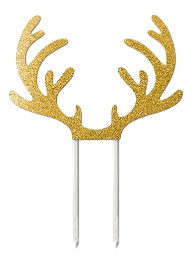 Reindeer Antlers Gold Glitter Card Cake Topper