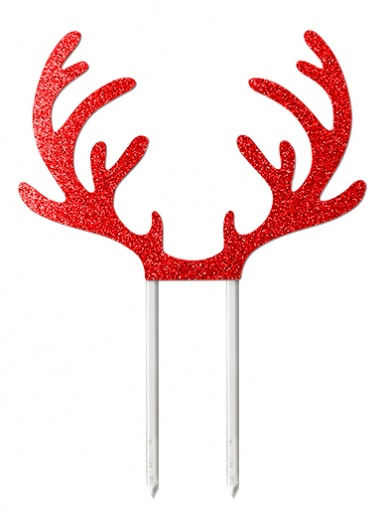 Reindeer Antlers Red Glitter Card Cake Topper