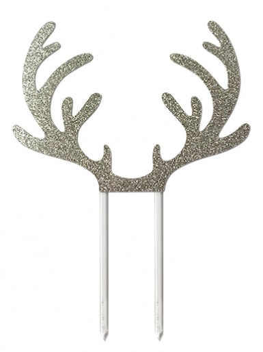 Reindeer Antlers Silver Glitter Card Cake Topper