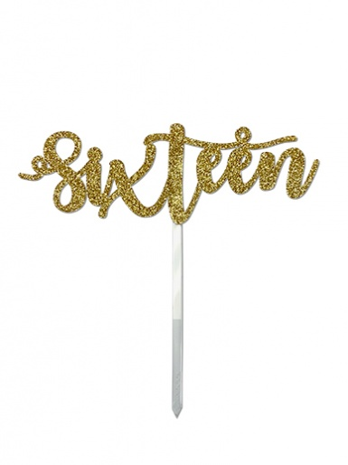 'Sixteen' Gold Glitter Card Cake Topper