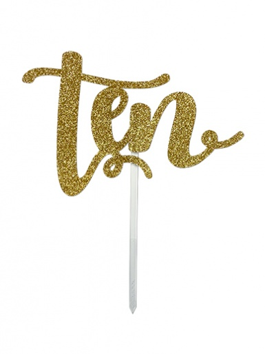 'Ten' Gold Glitter Card Cake Topper