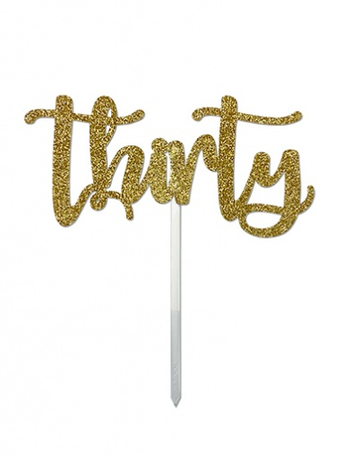 'Thirty' Gold Glitter Card Cake Topper