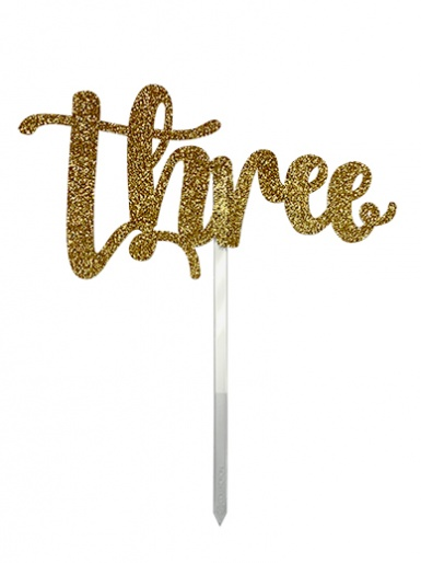 'Three' Gold Glitter Card Cake Topper
