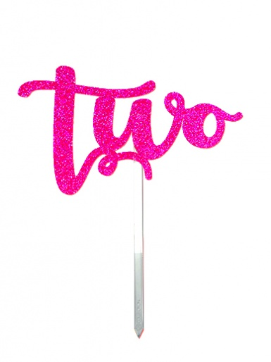 'Two' Pink Glitter Card Cake Topper